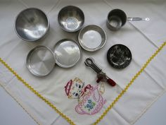 1950s Childrens Cookware Baking Set - 7 Pieces - Betty Taplin Egg Beater Aluminum Mixing Bowls Cake Pans Sauce Pan Vintage Collectible Toys by shabbyshopgirls on Etsy