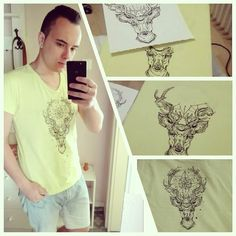 #art #draw #drawing #design #tshirt #neon #newyorker #selfie #handsome #handmade #diy #textiles #paint #ink #deer #style #streetfashion #fasionfave #fashion #unique by kovacsiakos