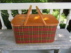 Vintage Redmon Picnic Basket  Large Plaid Wood Metal with