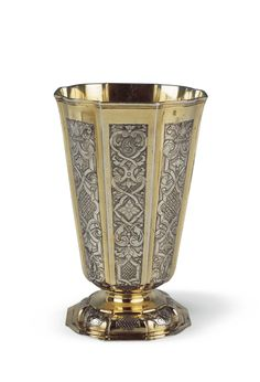 Michael May II Transylvanian parcel-gilt silver beaker from Brassó/Kronstadt/Brasov, dated 1739. Sotheby's auction.
