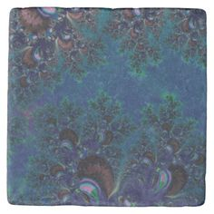 Stone Coaster:   Midnight #Frost Crystals Fractal T Stone #Coaster....#kitchen #accessories #interiordesign #interiordecoration #products #forsale #home #housewares #RoseSantuciSofranko #Artists4God #designer #customizable #Zazzle #artistic #fractals #abstracts #blue #frostcrystals