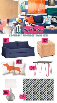 Copy This Room: Design a Kid- and Pet-Friendly Living Room >> http://blog.hgtv.com/design/2015/08/10/copy-this-room-design-a-kid-and-pet-friendly-living-room/?soc=pinterest