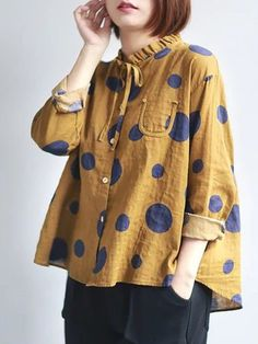 Polka Dots Printed Tie-neck Ruffled A-line Linen Top Sewing Clothes Women, Dress Clothes For Women, Dots Fashion, Fashion Outfits, Polka Dot Blouse, Polka Dots, Sewing Blouses, Blazer, Grunge Style