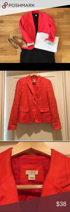 Jcrew orange linen blazer Jcrew orange linen blazer with pale green liner J. Crew Jackets & Coats Blazers