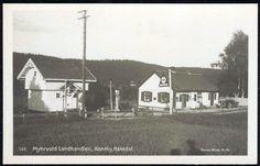 AANEBY, HAKADAL. Nittedal kommune i Akershus fylke Myhrvold Landhandleri. Nærbilde med gammel bil utenfor. MIL bensinreklame og pumpe utg Brødr. H. Outdoor, Outdoors, Outdoor Living, Garden