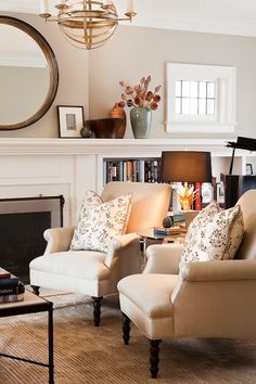 Jennifer Worts Design - love the mantel going all the way across room with built-ins