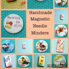 Handmade Needle minders  Many more designs in my shop What is a Needle minder ? A Needle minder is magnetic so when you rest your needles on it they will stay in place when your having a break from your needle work  #crossstitch #crosstitch #sewing #sew