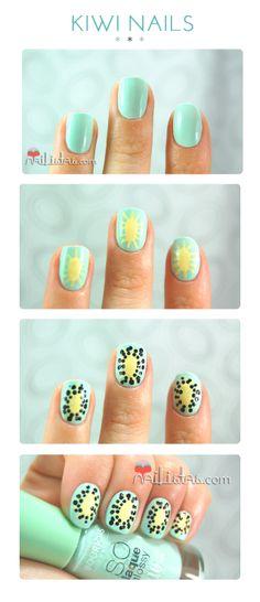 Kiwi nail art step by step #DIY #nails