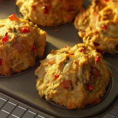 Savory Breakfast Muffins - Not into the sweet breakfast muffin? Go savory. You'll love the smoky flavor from the Canadian bacon and the fresh-tasting combination of red bell pepper and scallions in these muffins. High Fiber Breakfast, Low Calorie Breakfast, Savory Breakfast, Breakfast Muffins, Sweet Breakfast, Breakfast Recipes, Scone Recipes, Breakfast Ideas, Breakfast Biscuits