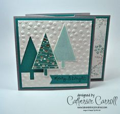 Festival of Trees double gatefold card in Lost Lagoon, Smoky Slate and Soft Sky by UK Stampin' Up! Demonstrator Catherine Carroll