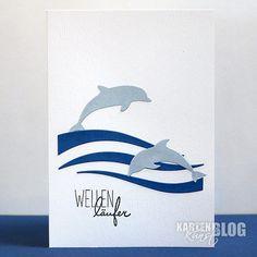 "blog.karten-kunst.de - Wellenläufer. Memory Box Stanzschablone – Diving Dolphins, Memory Box Stanzschablone Breezy Waves, Karten-Kunst Clear Stamp Set Capri ""An der See"""