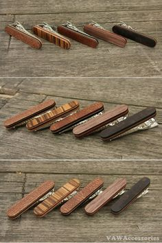 Wooden Accessories Company Wooden Tie Clips with Laser Engraved Apple Juice Design Cherry Wood Tie Bar Engraved in The USA