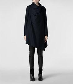 Damen City Monument Coat (Black) | ALLSAINTS.com