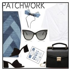 """""""Jean skirt patchwork"""" by tshainafashion ❤ liked on Polyvore featuring T By Alexander Wang, BCBGMAXAZRIA, Maryam Nassir Zadeh, Tom Ford and A.X.N.Y."""