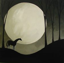 "ORIGINAL PAINTING ""Watching"" Debbie Mama Criswell black horse moon landscape"