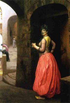 'Woman from Cairo, Smoking a Cigarette', Oil On Canvas by Jean Léon Gérôme (1824-1904, France)