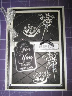 Happy Birthday Tattered Lace Shoe Card 2 Scrapbook Cards, Scrapbooking, Tattered Lace Cards, Birthday Cards For Women, Die Cut Cards, Pretty Cards, Embossing Folder, Vintage Cards, Stilettos