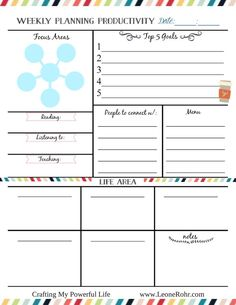 Freebie: Free Weekly Planning for Productivity. Love the level of detail and the fun colors on this one. Click for more free organizing printables: http://www.pinterest.com/hre/free-printables-for-organizing/