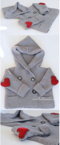 """The sweater pattern is """"duffle coat"""" from Debbie Bliss' Essential Baby."""