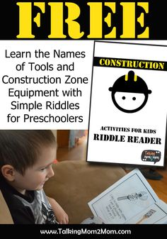 I can use this to practice writing words if I substitute D'Nealian words to trace- FREE Construction Themed Riddle Reader for Preschoolers Tot School, High School, School Tips, Middle School, Preschool Printables, Free Printables, Best Children Books, Preschool Activities, Preschool Art
