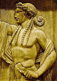 A marble funerary relief of one of the #Olympians, the ancient #Greek god, #Apollo. (#Archaeological #Museum of Piraeus #Athens)