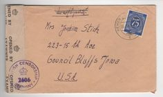 """And here is an interesting bit. This letter was mailed to America from Germany around the time of World War II. As you can see on the right, it was opened and examined. This is often referred to as """"Postal Censorship"""" and is a more common practice than some might think during times of war. Pretty easy to find, not worth much of anything, but sort of interesting none the less."""