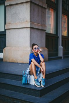 HOW TO LOOK CASUAL BUT EFFORTLESSLY COOL // Notjessfashion.com // Stella McCartney Creepers, Stella McCartney Elyse Denim Shoes, blue monochromatic outfit, royal blue outfit, pearl earrings, casual blogger style, casual style, asian blogger, new york fashion blogger, denim shoes, blogger photography, cool blogger outfit