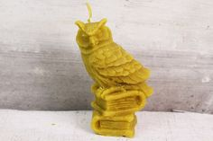Beeswax candle owl eagle-owl animal realistic by MountainHoneyArt