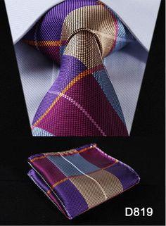 """Paisley Check Dot 3.4"""" 100%Silk Wedding Jacquard Woven Men Tie Necktie Pocket Square Handkerchief Set Suit #D8"""