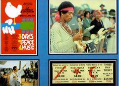 Woodstock – Hier handelt es sich um die Replik einer original Three Day Ticket zum legendären Konzert in Woodstock vom 15.8.-17.8.1969 mit Fotos von Jimi Hendrix und Abbildung des Konzertplakates. www.starcollector.de