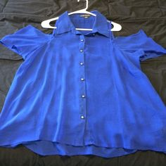 Forever 21 button up shirt Sheer blue button up shirt forever 21 worn one time 100% polyester Forever 21 Tops Blouses