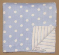 First Impressions Blue White Reversible Baby Blanket Polka Dot Stripe Velour #FirstImpressions