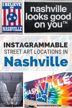 Find the best murals in Nashville Tennessee with this guide. Spotting street art is one of the coolest things to do there and you can get your fill in these four neighborhoods. Find favorite murals like the Wings and I believe in Nashville Nashville Murals, Nashville Trip, Nashville Tennessee, Tennessee Vacation, Nashville Attractions, Nashville Restaurants, Visit Nashville, Us Travel Destinations, I Believe In Nashville