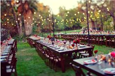 long wood tables, small arrangements of red flowers