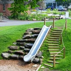 37 Exciting Small Backyard Playground Landscaping Ideas - Page 8 of 39 Kids Backyard Playground, Playground Design, Backyard For Kids, Playground Ideas, Backyard Ideas, Natural Outdoor Playground, Playground Slide, Rustic Backyard, Large Backyard