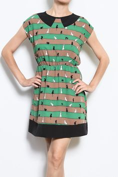 Green Cat Dress - Retro Style - Kitty Clothing Womens Tunic - Screen Printed Dress - Crazy Cat Lady Striped Dresses
