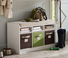 Use Martha Stewart Living storage totes for quick and easy organization.