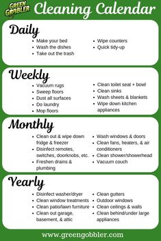 How often should you clean everything in your home? Take a look at this cleaning calendar/cleaning schedule to get some guidance and inspiration for cleaning & maintaining your home! Cleaning Calendar, Weekly Cleaning, Household Cleaning Tips, Cleaning Recipes, Deep Cleaning, Spring Cleaning, Cleaning Hacks, House Cleaning Checklist, Clean House Schedule