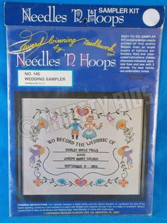 Needles N Hoops Wedding Sampler Kit Embroidery Stamped 145 Announcement Notice #NeedlesNHoops #Frame