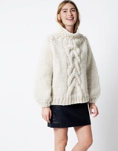 Cropped Cable Sweater. @woolandthegang