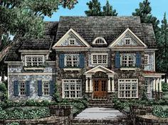Home Plans HOMEPW10903 - 3,586 Square Feet, 4 Bedroom 4 Bathroom Cottage Home with 3 Garage Bays