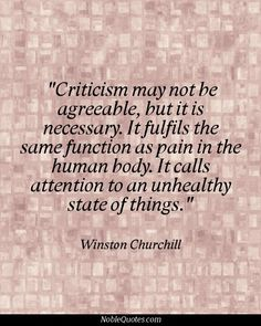 Criticism is just an excuse to voice your own opinion many times in places you have no business voicing one at all.
