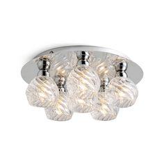 Florentine 6 Light Swirl Flush Ceiling Light - Chrome from Litecraft