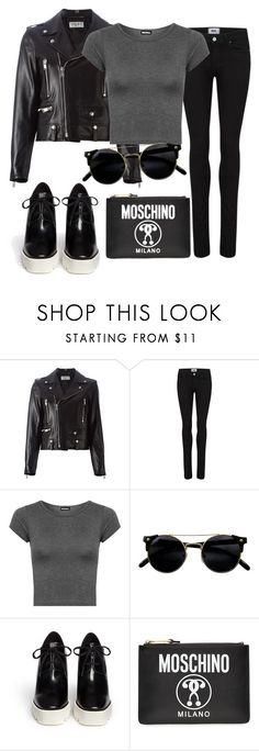 """""""Black teme"""" by ilenia-aretusi ❤ liked on Polyvore featuring Yves Saint Laurent, Paige Denim, WearAll, STELLA McCARTNEY and Moschino"""