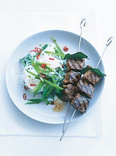 chilli and kaffir lime beef skewers - Donna Hay SEASONS Grilling Recipes, Meat Recipes, Cooking Recipes, Healthy Recipes, Beef Skewers, Kabobs, Donna Hay Recipes, Kaffir Lime, Fish And Meat