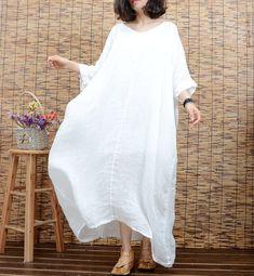 Weiße Tunika Kleid Sommer Kleid Leinen Kleid Größe von newstar2016