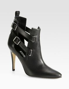 MANOLO BLAHNIK Cenino Strappy Leather Ankle Boots