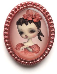 "Mark Ryden's ""Daisy"" Enamel Brooch with pouch and Box 