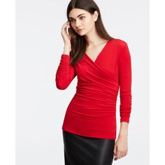 Ann Taylor Crepe Ruched Wrap Top ($50) ❤ liked on Polyvore featuring tops, sour cherry, red top, ruched v neck top, v neck wrap top, ruched wrap top and v-neck tops