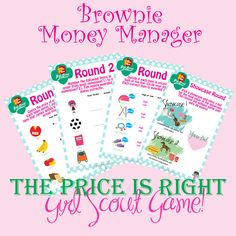 It's finally here and I'm so excited to share this with ya'll!!! I know many of you have been asking for this and I was looking for a fun way to to teach the money manager badge. What better way! How to Play.... Have the girls break up into teams. Give each team a set of cards with round 1-3 and the showcase round card. Go through each round individually and reveal at the end of each round. After the first three rounds have the girls add up their scores. The top two teams will get to m...